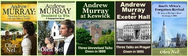 Five bookcovers depicting works about or by Andrew Murray