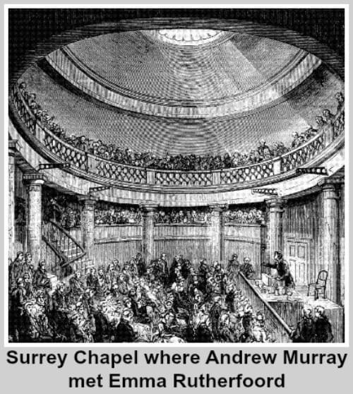 Inside Surrey Chapel where Andrew met Emma Rutherfoord