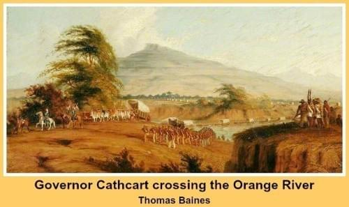 Governor Cathcart crossing the Orange River (Thomas Baines)