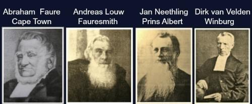 Anndrew Murray's colleagues: Abraham Faure, Andreas Louw, Jan Neethling, Dirk van Velden