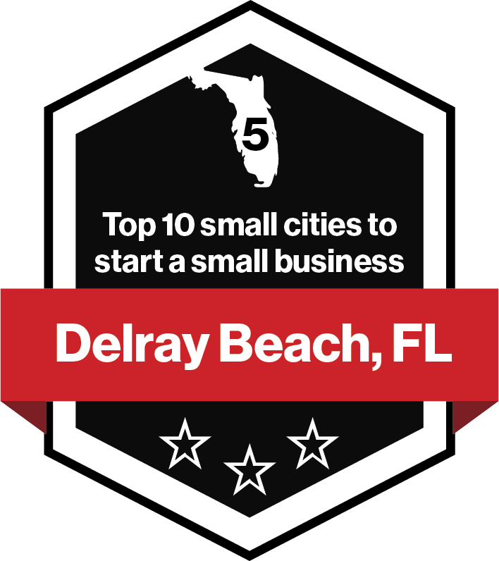 Delray Beach, FL is the #5 small city to start a small business.