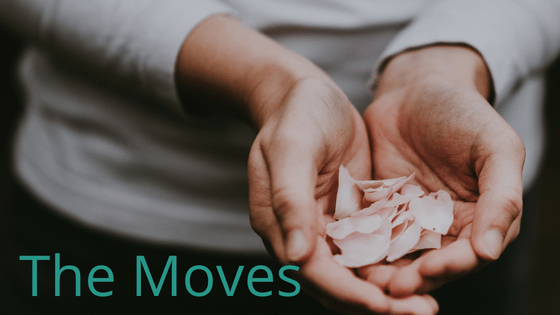 Cupped hands holding rose petals with the title The Moves.  Learn the exercises that can help you strengthen your wrists.