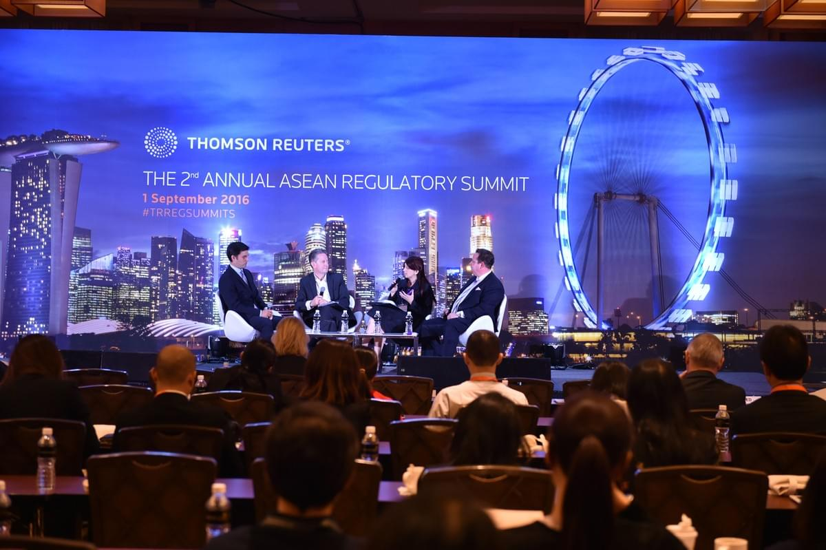 From L to R: Patrick Fok, Senior Editor Thomson Reuters; Paul O'Rourke, Lead Partner, Cybersecurity Asia Pacific, Ernst & Young; Leesa Soulodre, Chief Reputation Risk Officer and Managing Partner, RL Expert Group and Julian Claxton, Managing Director, Jayde Consulting.