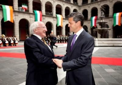 Irish President Michael D. Higgins with Mexican President Enrique Peňa Nieto during President Higgins' official visit to Mexico in 2013.
