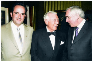 IECC Co-Founder Desmond Mullarkey (left), former Irish Honary Consul to Mexico, the late Rómulo Ó Farrill Jr. (middle) and former Irish Taoiseach (Prime Minister) Bertie Ahern at an IECC event in the 1990s.