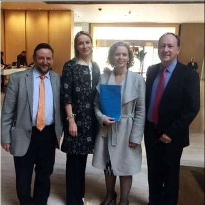 Board members Raúl Medina Mora, Orla Branigan (President), Lynda Stopford & John Milner at the signing of the Irish Mexican Chamber Incorporation documents in December 2016