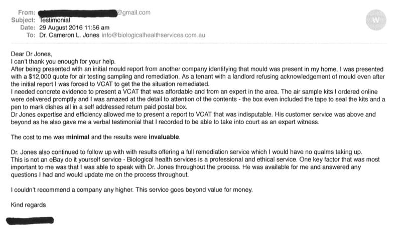 Testimonial Screenshot #1 of Email received by mould.net.au from a client who used one of our home test kits to measure for mould and spore contamination as part of a VCAT dispute over mould contamination and personal property