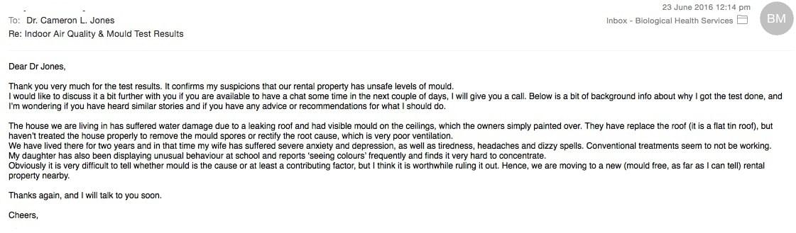 Testimonial Screenshot #2 of Email received by mould.net.au from a client who used one of our home test kits to measure for mould and spore contamination as part of a rental property dispute regarding water damage and mould un the residential tenancy act