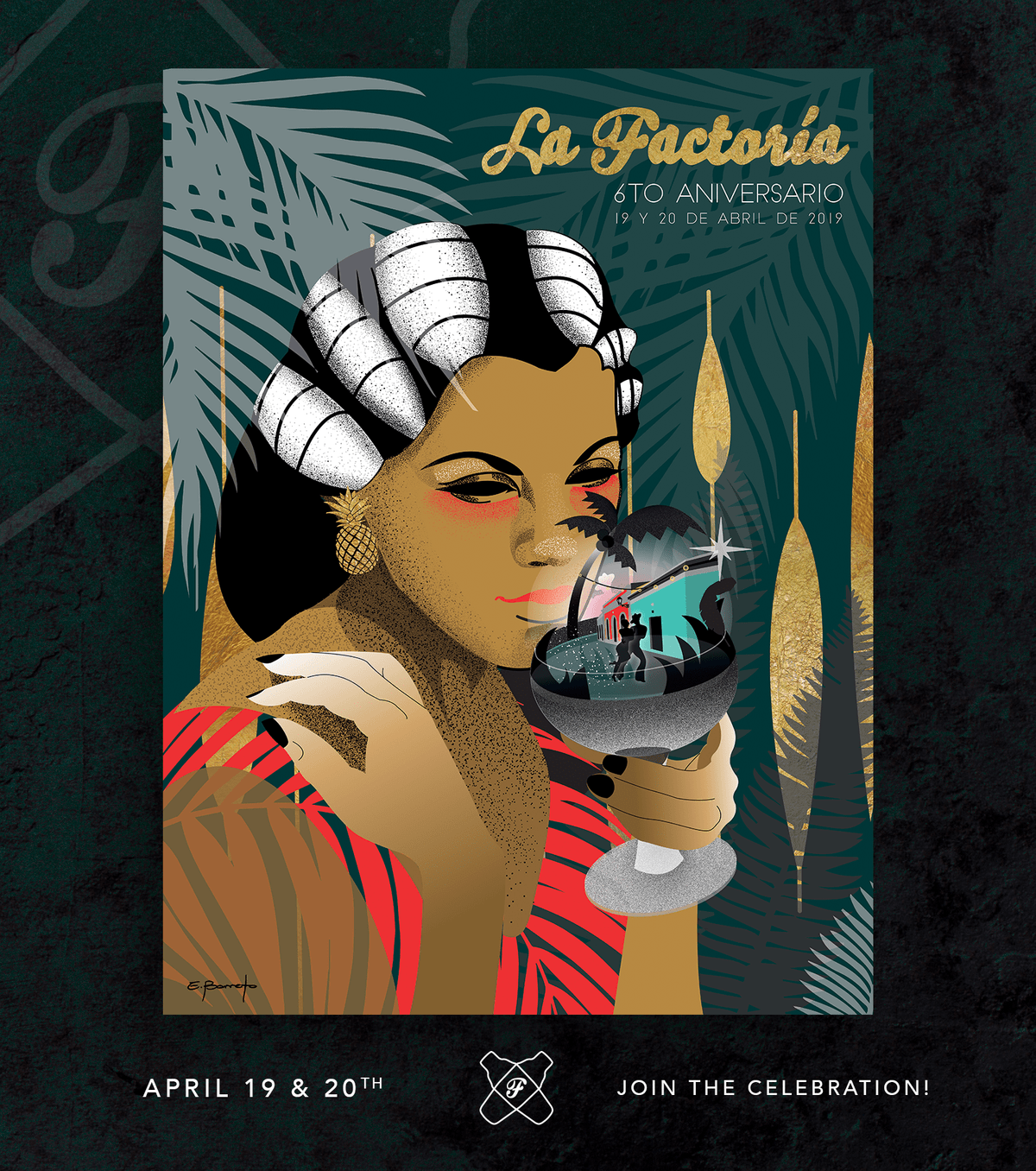 La Factoria's 6th anniversary commemorative poster from local artist Elizabeth Barreto