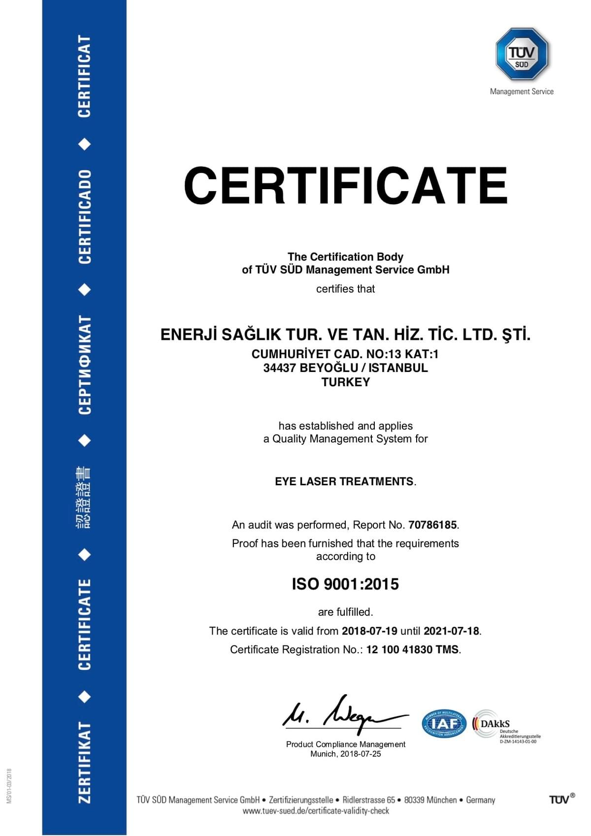 Eye Laser Treatment LASIK Quality Certificate
