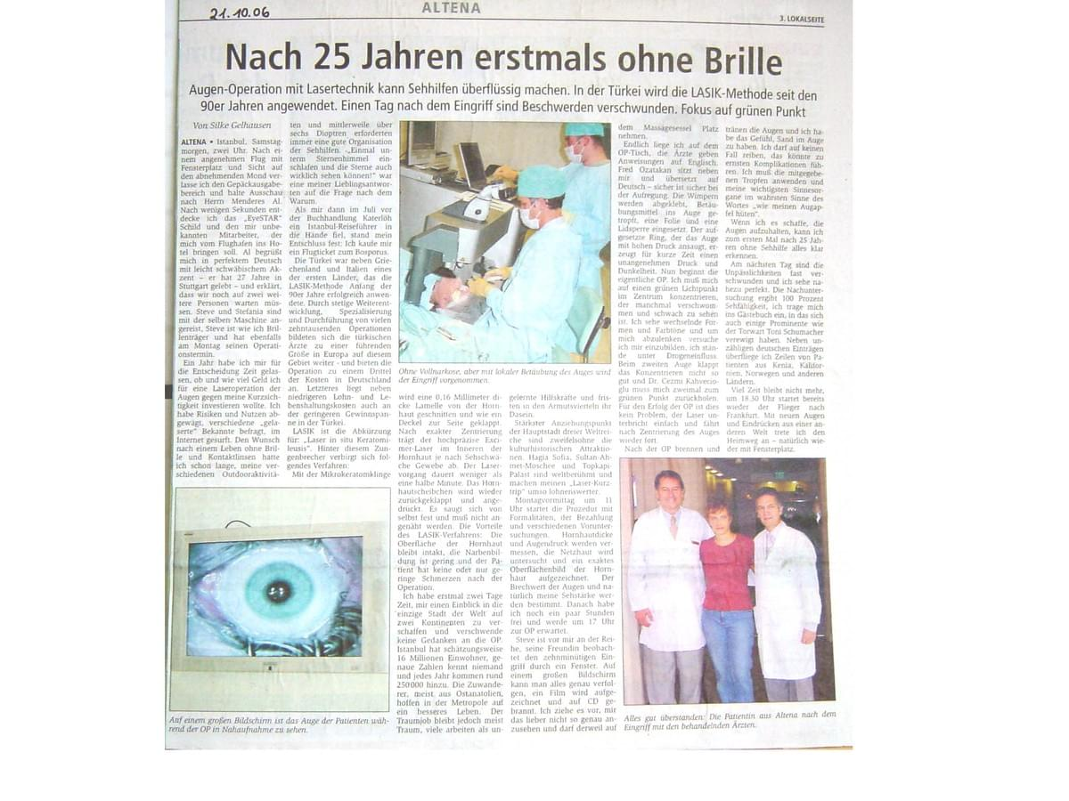 German media and eye laser treatment patient at Eyestar Lasik Institute in Istanbul