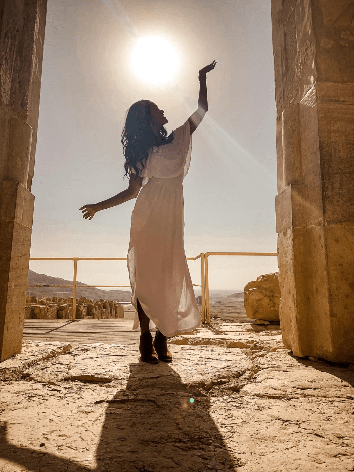 Brit Thompson in the sunlight in Deir el-Bahari Egypt