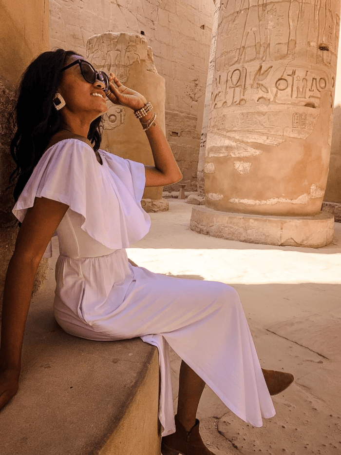 Brit Thompson in the Temple of Karnak in Egypt