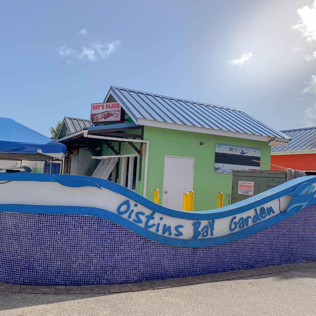 Pat's Place a popular restaurant and fish fry stall at Oistins Bay Garden in the day time in Barbados