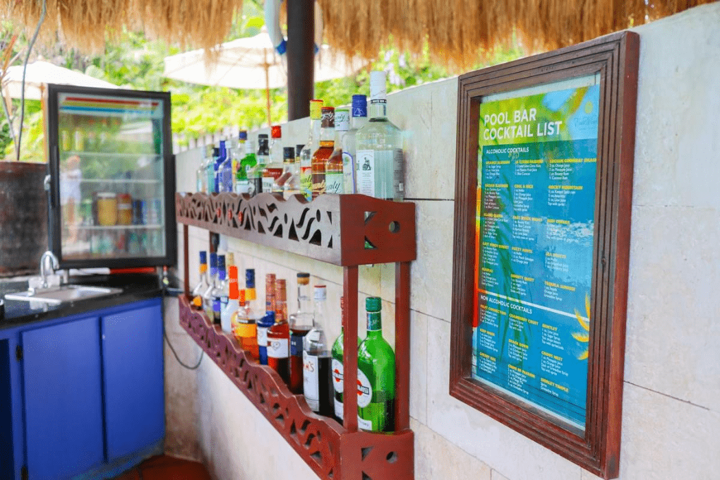 Saint Lucia all inclusive beach resort East Winds has a poolside wet bar with liquor and posted cocktail list