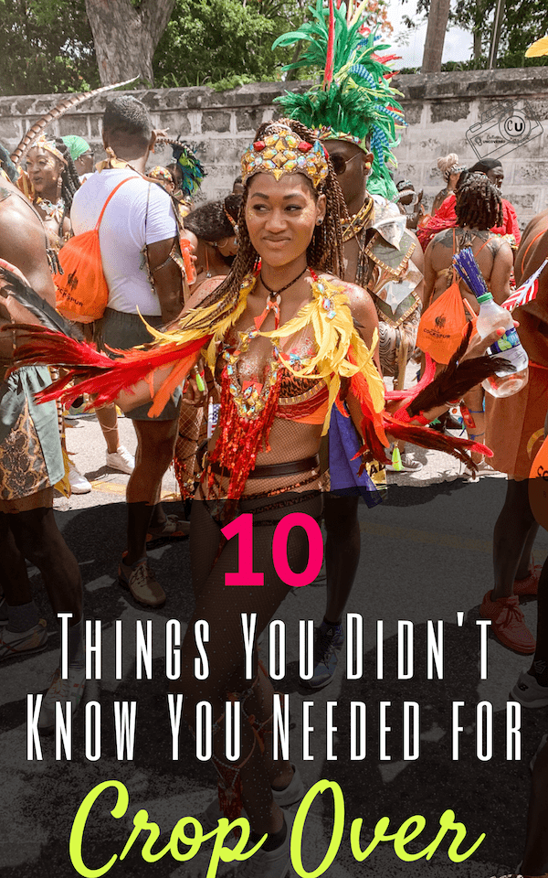Girl in Crop Over - carnival costume on the road in Barbados with 10 Things You Didn't Know You Needed for Crop Over in Barbados