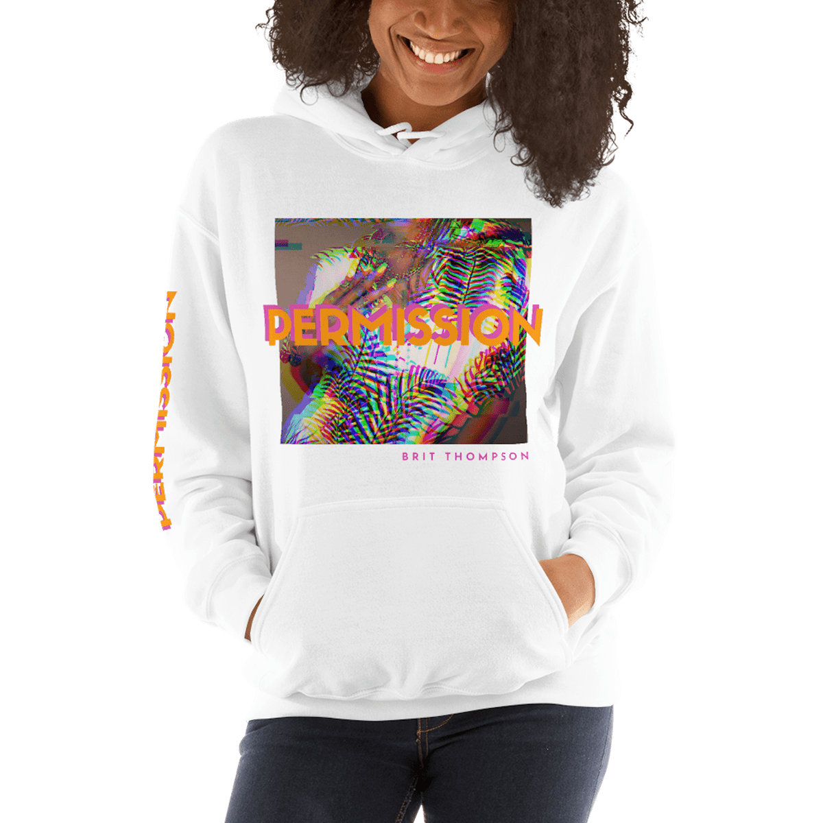 Curly hair natural girl in white Brit Thompson Permission hoodie band merch