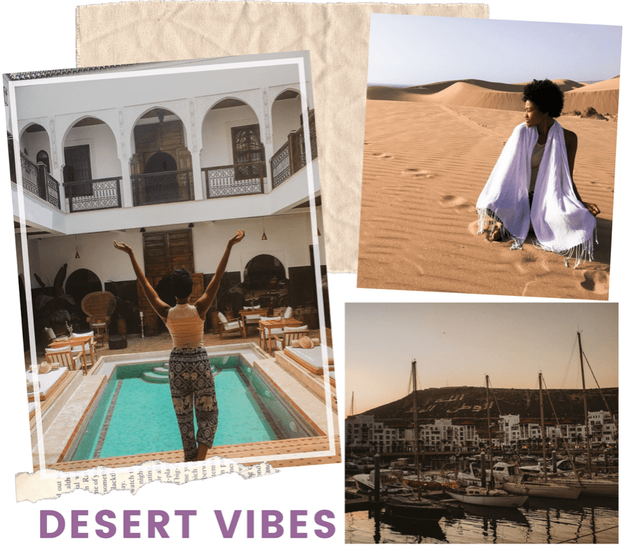 traditional roads, desert sand footprints, and the marina with sailboats