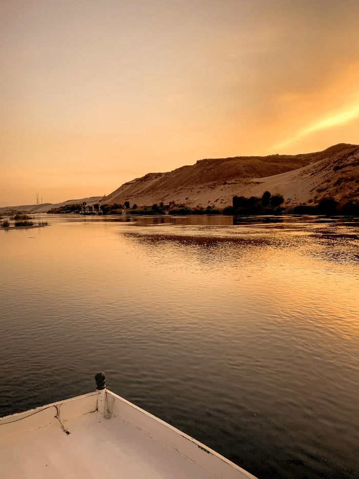 The front of a river boat sailing down the Nile River in Aswan, Egypt