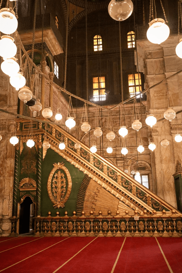 Inside of the Mosque of Muhammad Ali in Cairo Egypt