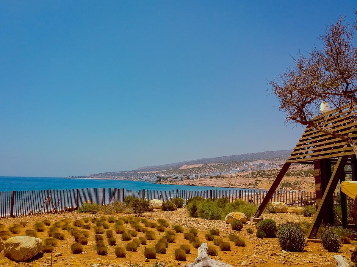 View of landscape and ocean water at Sol House Taghazout Bay