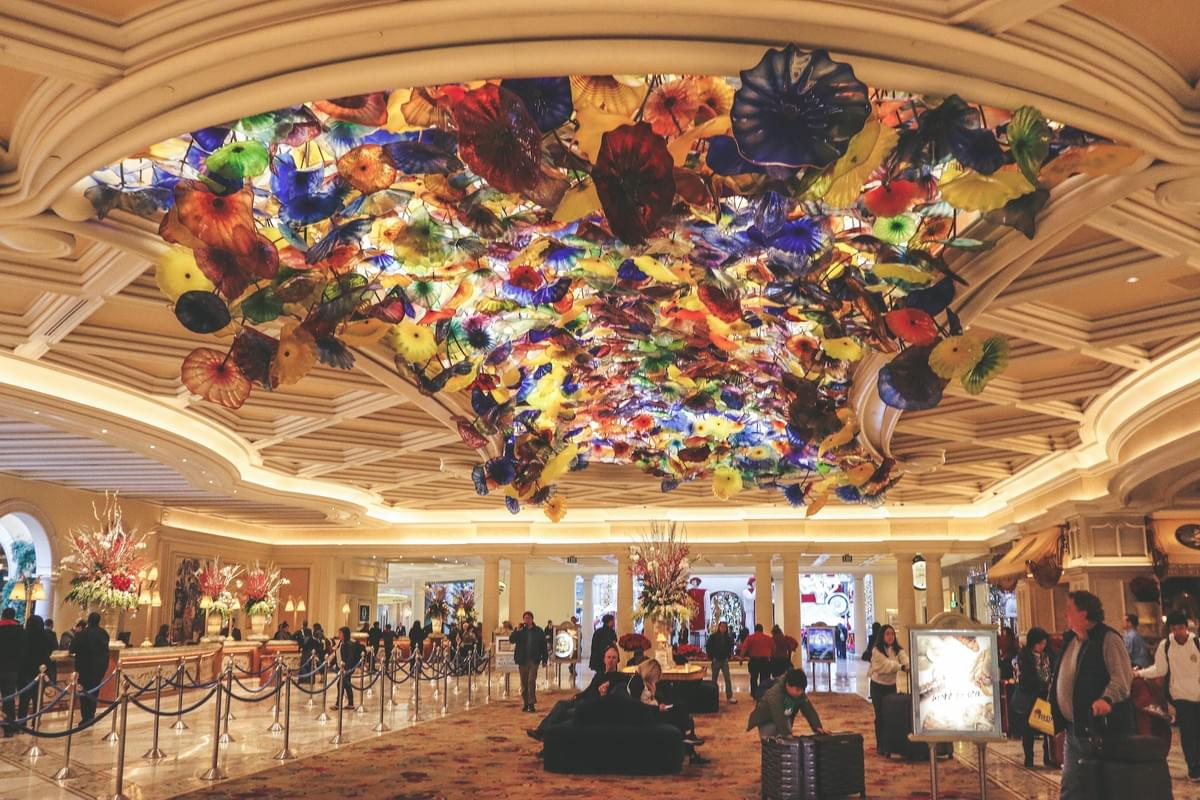 modern hotel lobby at the best Bellagio hotel with colorful flowers at top hotels in Las Vegas