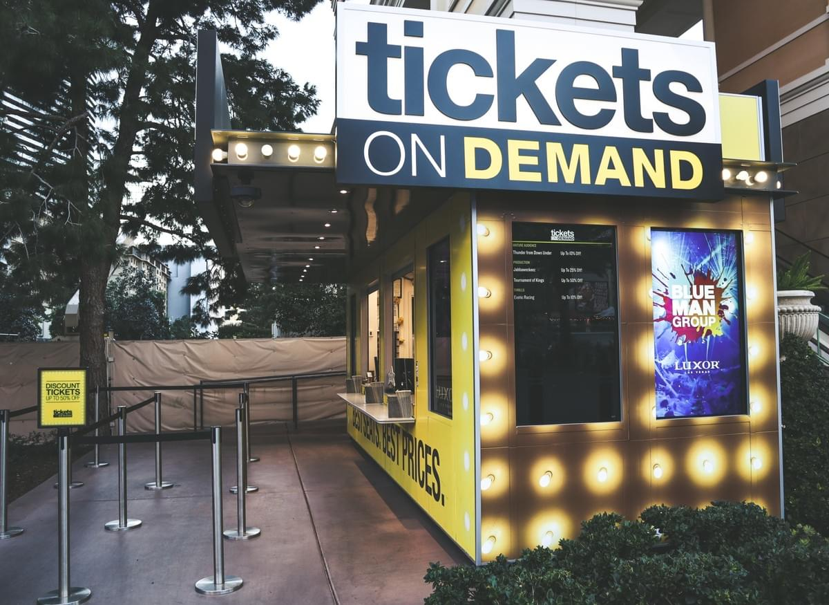 Tickets on Demand, a half-priced discount tickets seller and booth near the Bellagio on the Las Vegas Strip