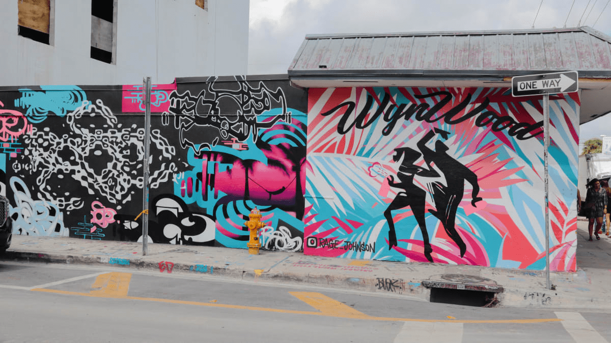 Pink, black, and blue street art by @rage_johnson in wynwood miami