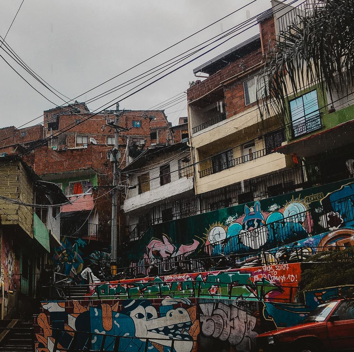 Street art along stairwell and ramp comuna 13 Commune 13 San Javier in medellin