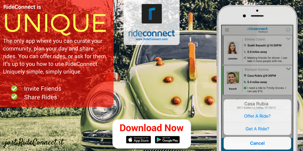 [RideConnect is unique. It's the only app where you can privately share rides with your social network.]