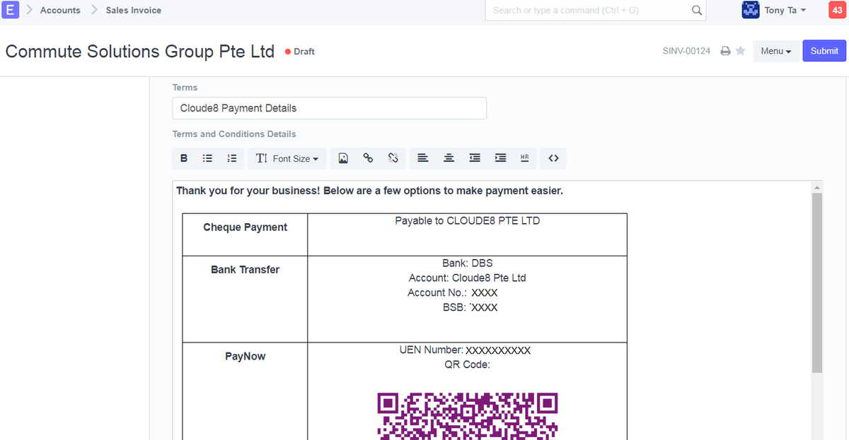 paynow sales invoice