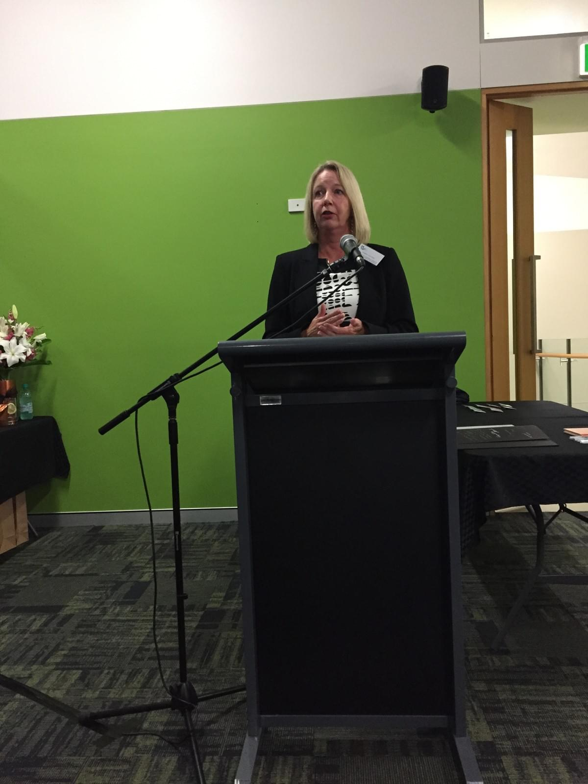 "Dr Julie Cotter, Director of the Australian Centre for Sustainable Business shares the economic context at the ""Towards an Asian Century"" event in Toowoomba."