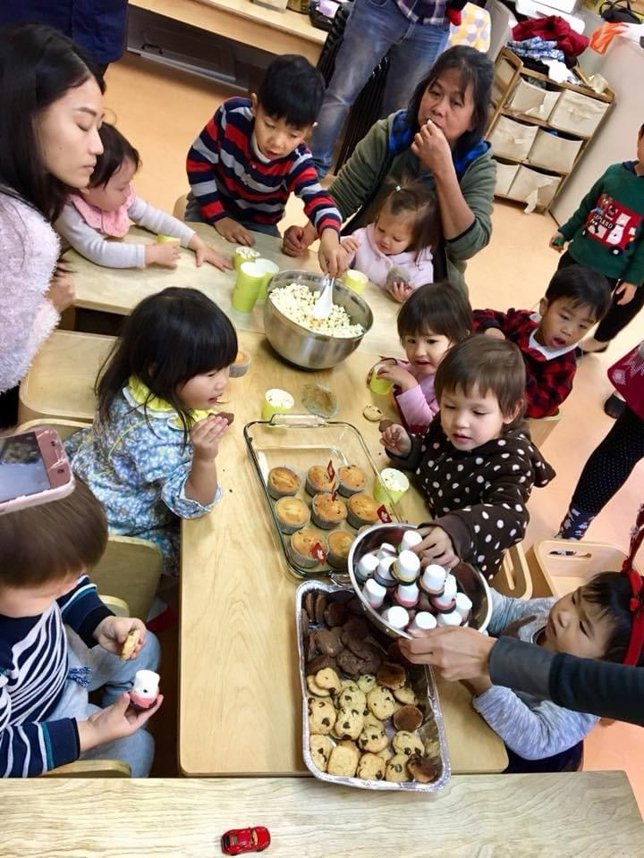 Christmas Party Potluck style at Mulberry Tree, Tai Po, Hong Kong with cookies, popcorn, muffins, marshmallow men, and more tasty treats