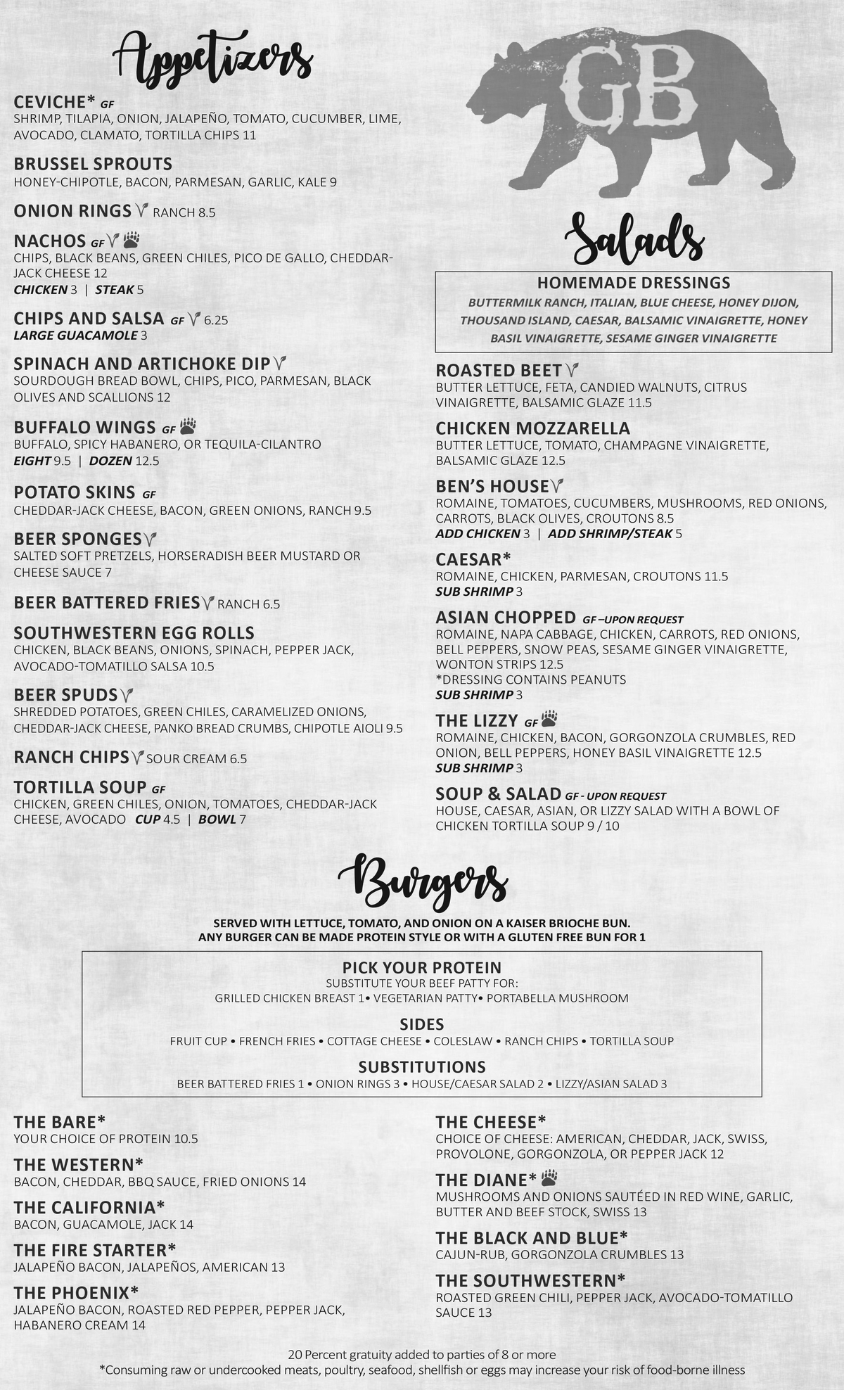 Menu - Appetizers, Burgers, and Salads