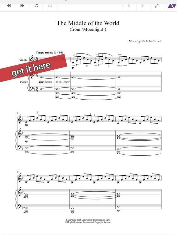 Moonlight Nicholas Britell Little's Theme Sheet Music, Piano
