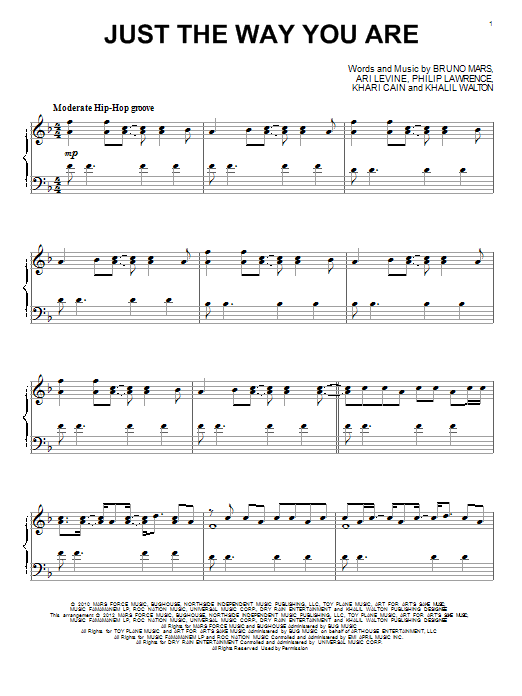 bruno mars, just the way you are, notes for piano, sheet music, download, pdf, klavier noten, composition, transpose, how to play