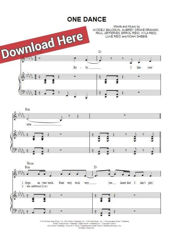 drake, one dance, kyla, wizkid, sheet music, piano notes, chords, keyboard, klavier noten, guitar