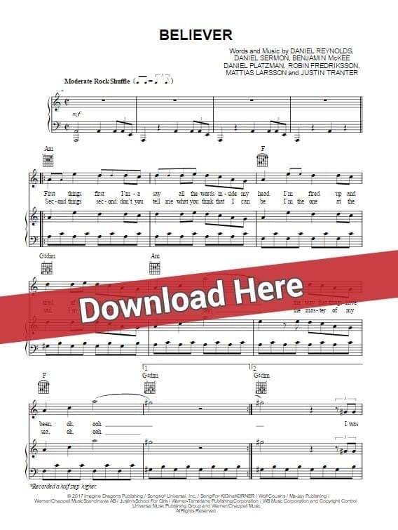 imagine dragons, believer, sheet music, piano notes, chords, download, klavier noten, pdf, tutorial, lesson, guide, how to play