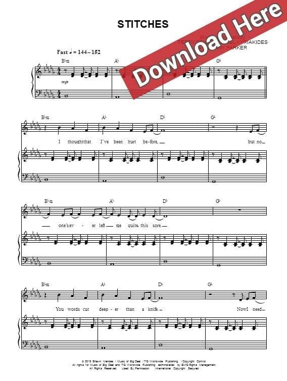 shawn mendes, stitches, sheet music, piano notes, chords, download, pdf, klavier noten, tutorial, lesson