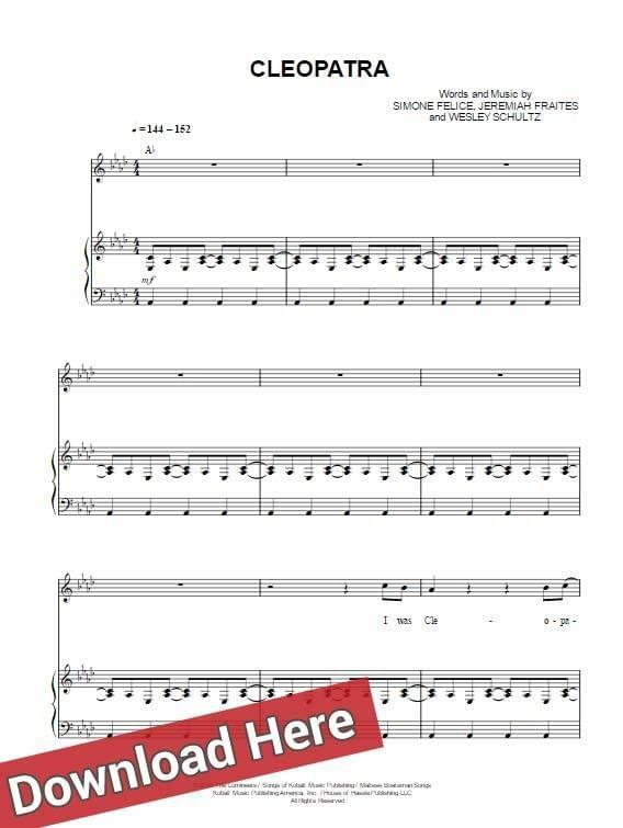 the lumineers, cleopatra, sheet music, piano notes, chords, score, keyboard, guitar, tabs, tutorial, lesson