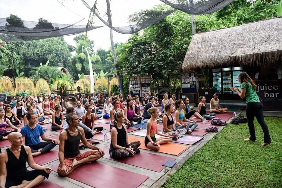 Yoga of You photo:  Dr. Andrea Paige teaching an outdoor class at a yoga retreat in Bali