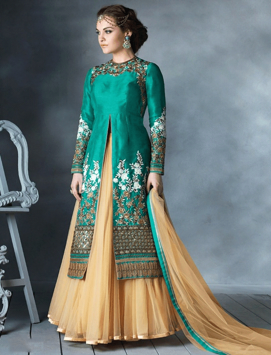 cd25e013c6 Lehenga Suits are quite in vogue! The pictured lehenga suit has a long  Kameez, paired with a flowy skirt-like bottom, which suit all body  silhouettes, ...