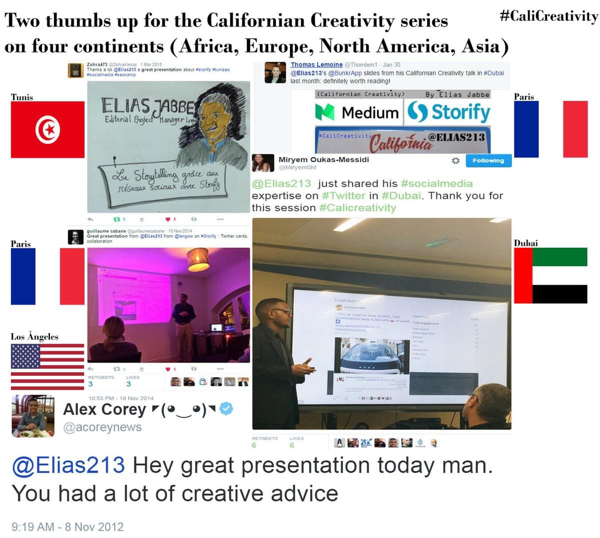 Elias213.com photo of Elías Jabbe Californian Creativity marketing presentations in four continents (Africa- Tunis, Tunisia,  Europe- Paris, France, North America- Los Ángeles, California, USA and Asia- Dubai, United Arab Emirates) #CaliCreativity