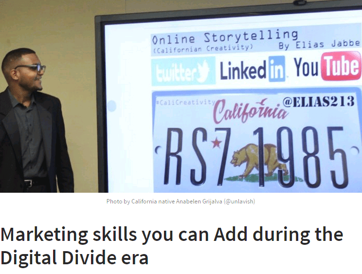 Marketng skills you can Add during the Digital Divide era -- article by Elias Jabbe