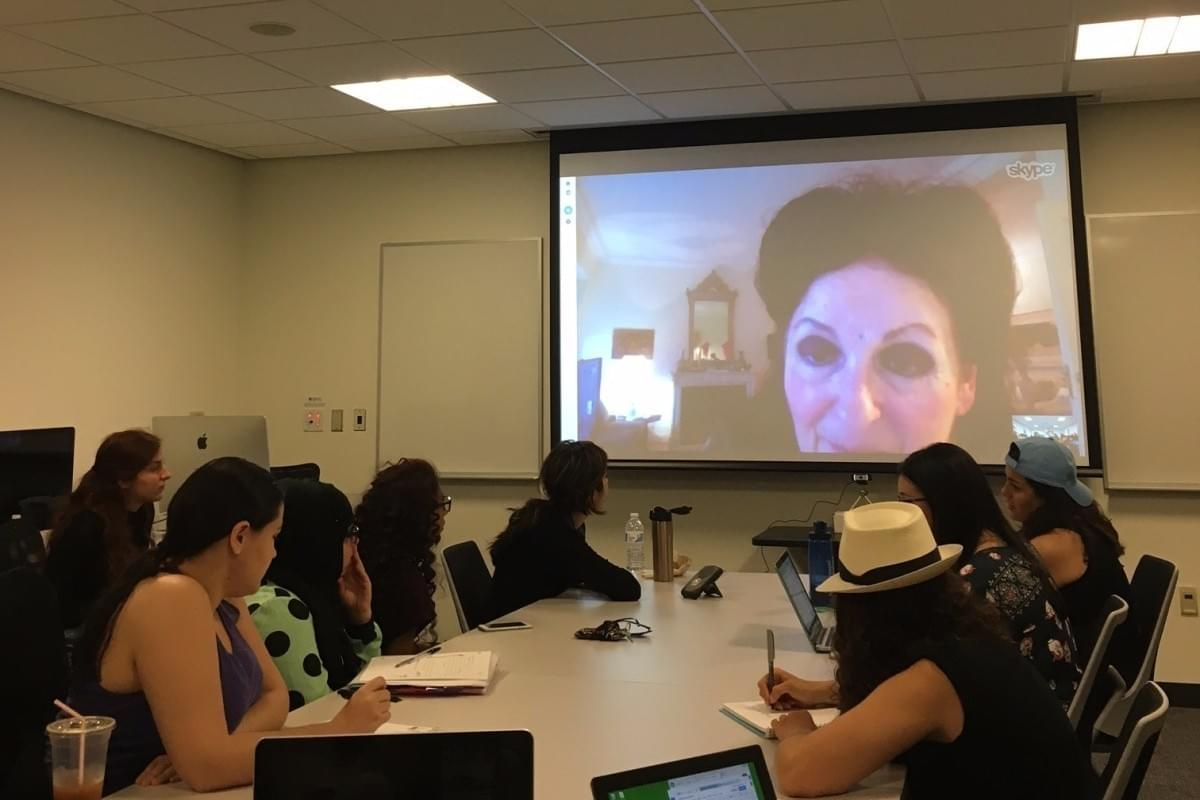 Students in Waed Athamneh's class chat with Lebanese novelist Hanan al-Shaykh