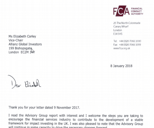 FCA response to joint letter, impact investing