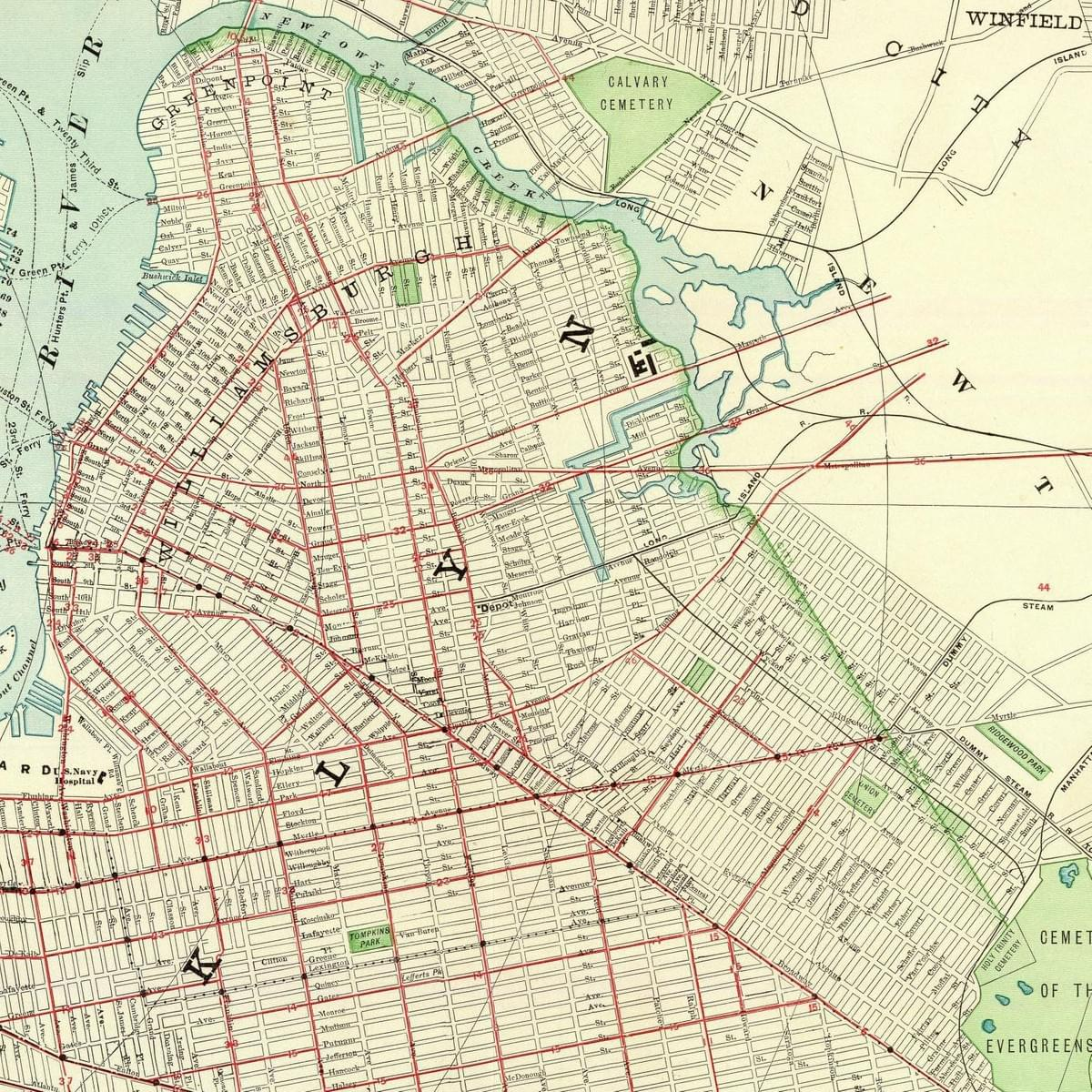 Historic Map of North Brooklyn (Williamsburg, Greenpoint, Bushwick, etc.)