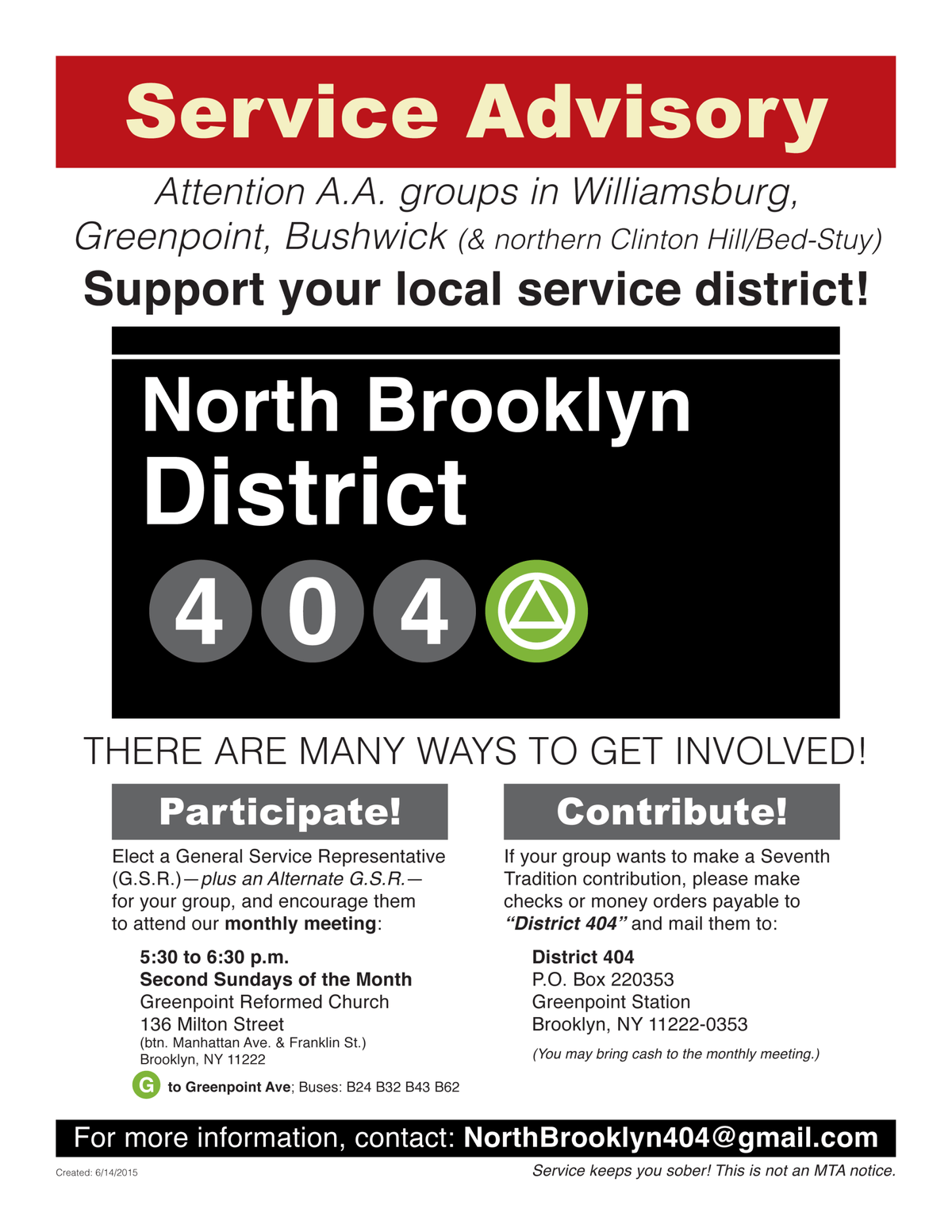 District 404 Service Flyer