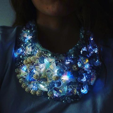 LED Ribbon Necklace by Rosemarie Soma