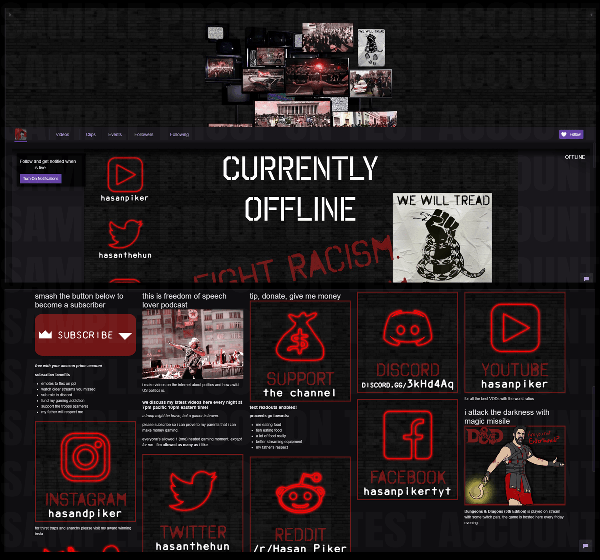 Preview image of Hasan Piker's Twitch.TV profile graphics as would be seen on the profile itself. The primary themes are a black brick background, a collage of television sets portraying civil distruption, and various logos appearing in red neon.